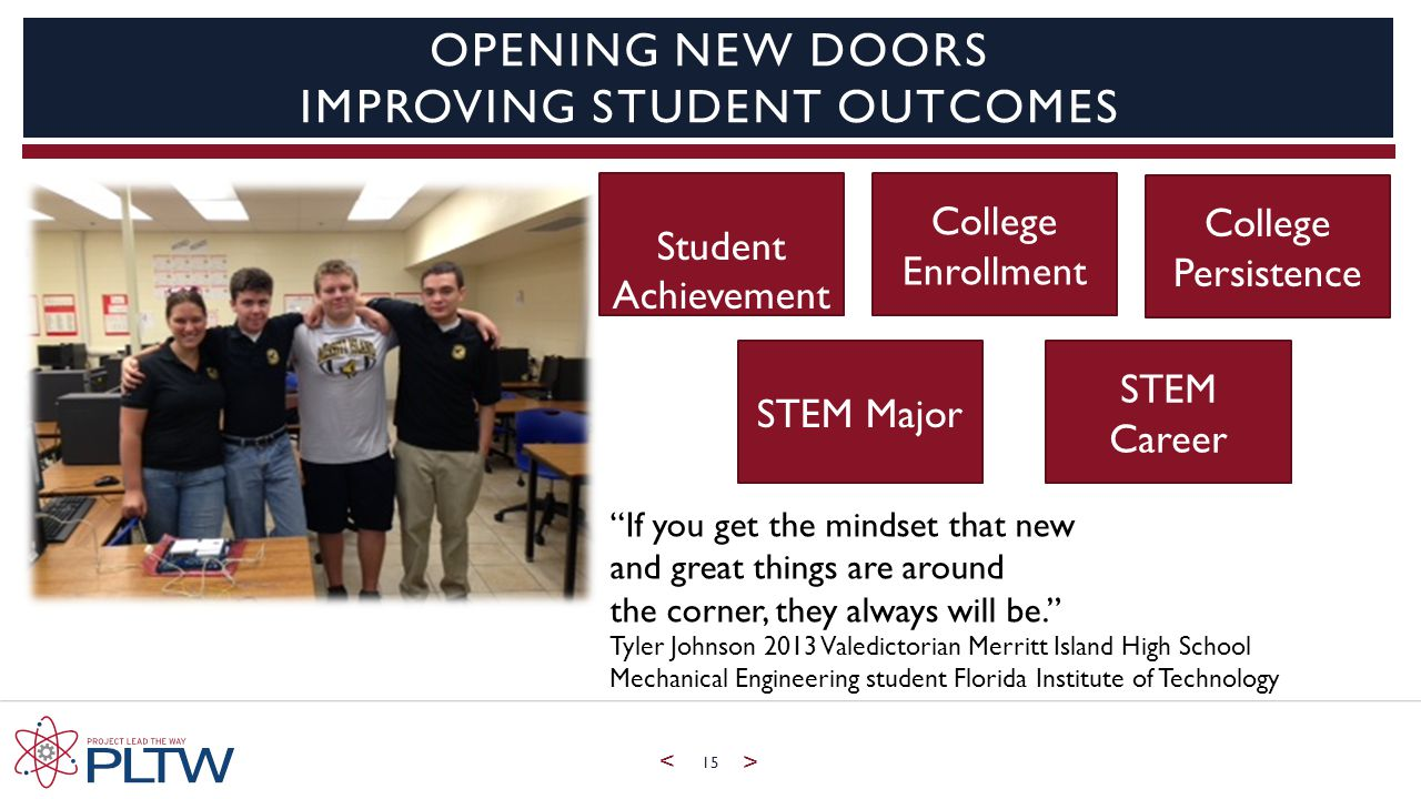 < > 15 OPENING NEW DOORS IMPROVING STUDENT OUTCOMES Student Achievement College Enrollment College Persistence STEM Major STEM Career If you get the mindset that new and great things are around the corner, they always will be. Tyler Johnson 2013 Valedictorian Merritt Island High School Mechanical Engineering student Florida Institute of Technology