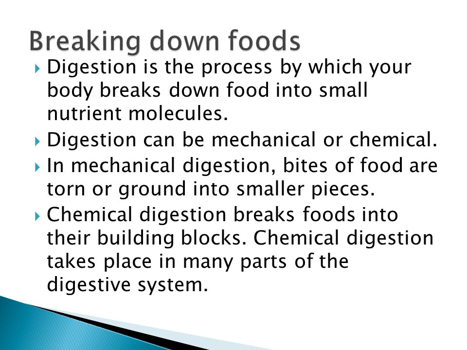  Digestion is the process by which your body breaks down food into small nutrient molecules.