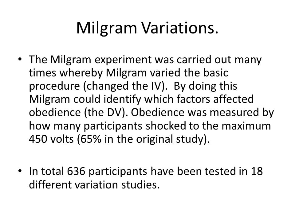 evaluation of milgrams obedience study essay According to robert lee obedience to lawful authority is the foundation of manly character stanley milgram conducted the behavioral study of obedience with the struggle between obedience to authority and self-conscience being the focal point of his experiment.