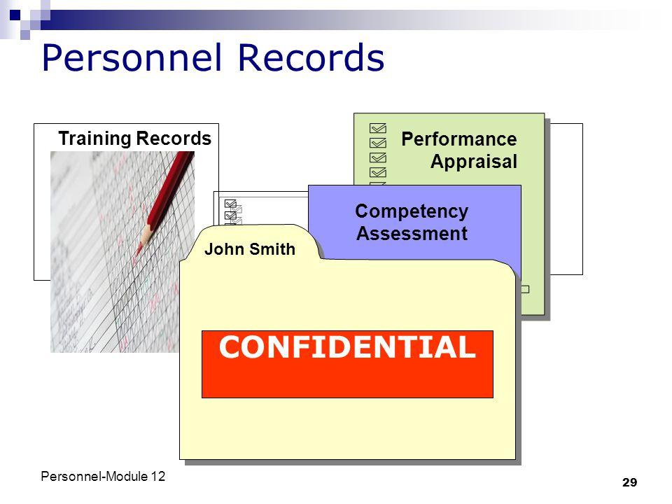 Personnel-Module 12 29 Personnel Records Performance Appraisal Competency Assessmen CONFIDENTIAL John Smith Training Records Competency Assessment