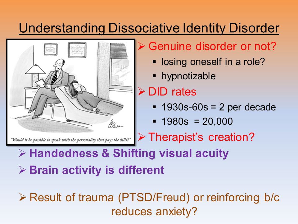 term paper dissociative identity disorder Access to over 100,000 complete essays and term papers essays related to dissociative disorders 1 dissociative identity disorder.