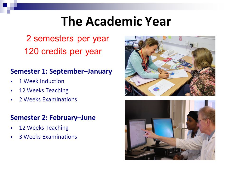 The Academic Year Semester 1: September–January  1 Week Induction  12 Weeks Teaching  2 Weeks Examinations Semester 2: February–June  12 Weeks Teaching  3 Weeks Examinations 2 semesters per year 120 credits per year