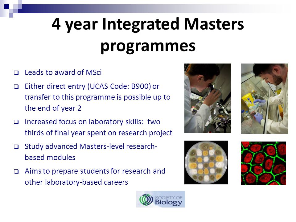 4 year Integrated Masters programmes  Leads to award of MSci  Either direct entry (UCAS Code: B900) or transfer to this programme is possible up to the end of year 2  Increased focus on laboratory skills: two thirds of final year spent on research project  Study advanced Masters-level research- based modules  Aims to prepare students for research and other laboratory-based careers