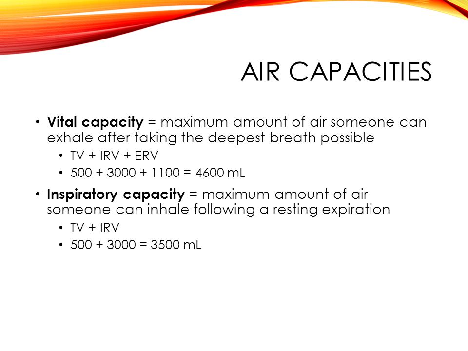 AIR CAPACITIES Vital capacity = maximum amount of air someone can exhale after taking the deepest breath possible TV + IRV + ERV = 4600 mL Inspiratory capacity = maximum amount of air someone can inhale following a resting expiration TV + IRV = 3500 mL