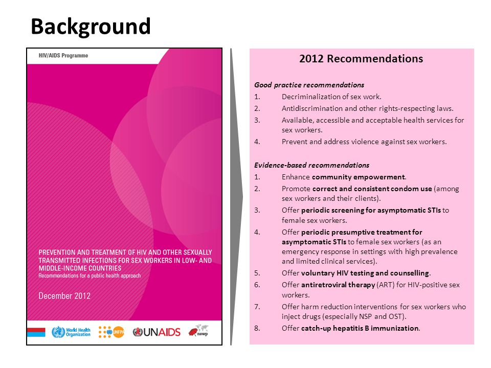2012 Recommendations Good practice recommendations 1.Decriminalization of sex work.