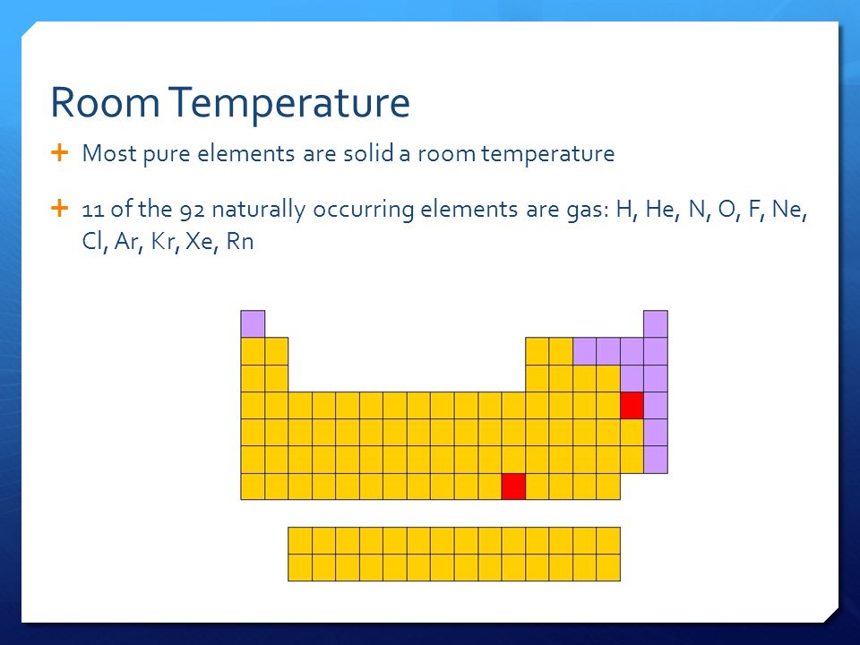 Room Temperature  Most pure elements are solid a room temperature  11 of the 92 naturally occurring elements are gas: H, He, N, O, F, Ne, Cl, Ar, Kr, Xe, Rn