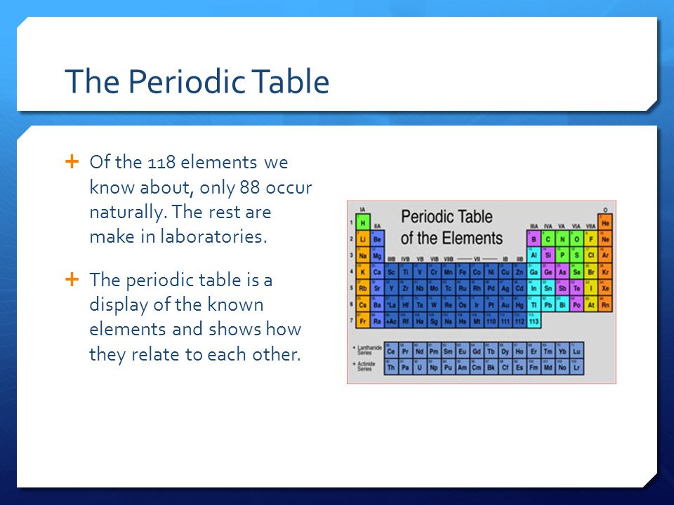 The Periodic Table  Of the 118 elements we know about, only 88 occur naturally.