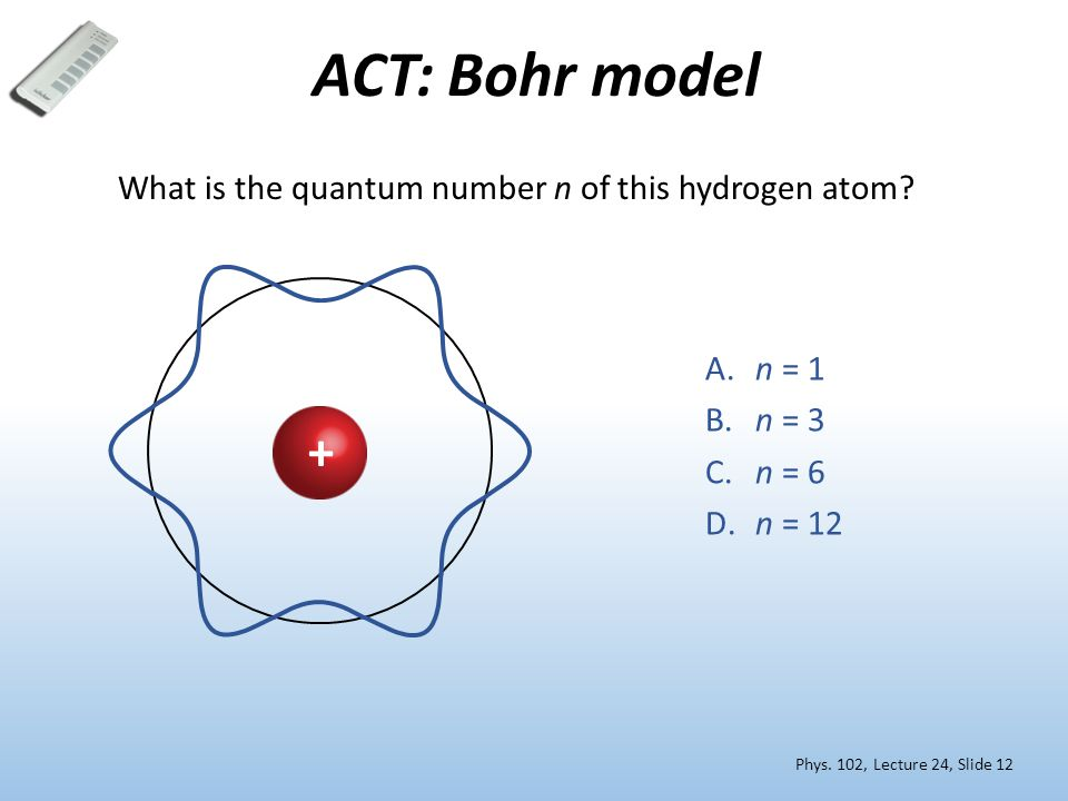 ACT: Bohr model What is the quantum number n of this hydrogen atom.