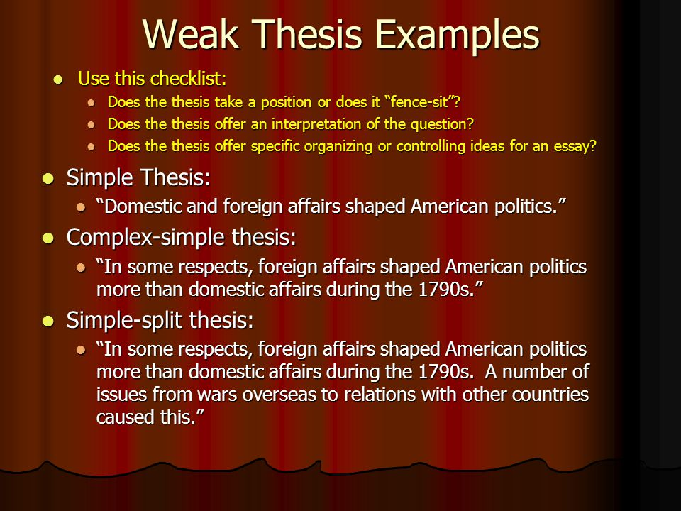 Simple Thesis Statement Examples