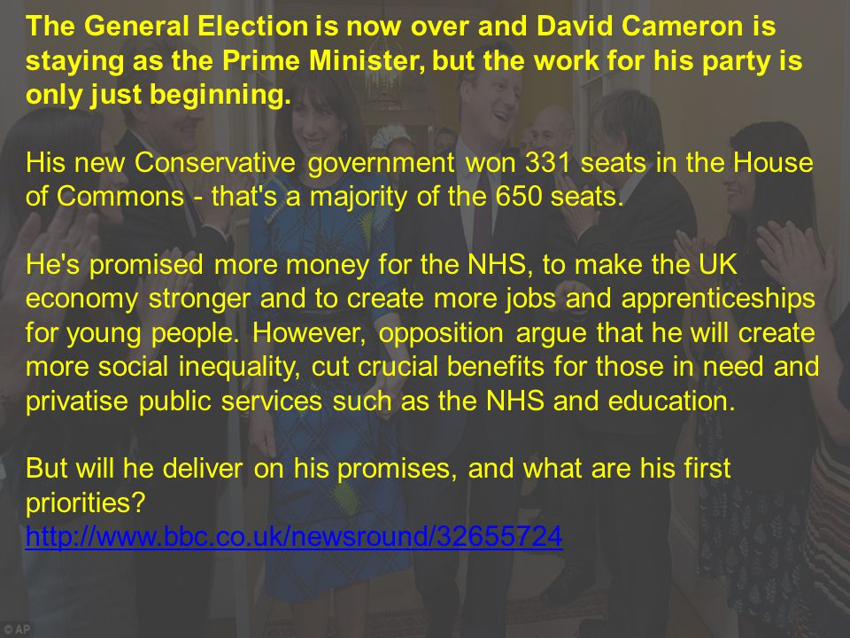 The General Election is now over and David Cameron is staying as the Prime Minister, but the work for his party is only just beginning.