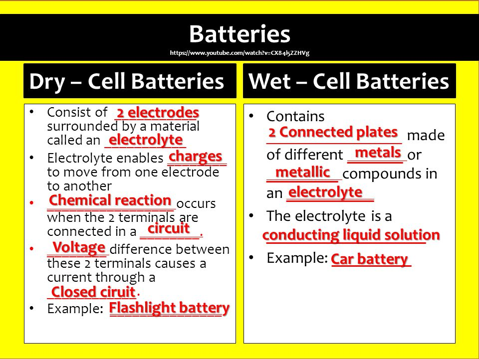 Batteries   v=CX84l5ZZHVg Dry – Cell Batteries Consist of ___________ surrounded by a material called an ___________ Electrolyte enables ________ to move from one electrode to another _________________ occurs when the 2 terminals are connected in a ________.