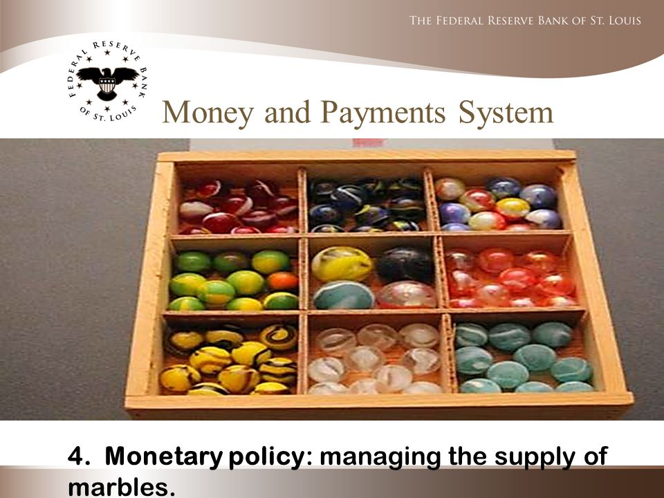 Money and Payments System 4. Monetary policy: managing the supply of marbles.