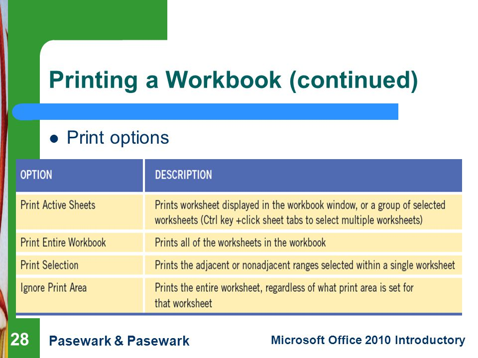 Excel Lesson 7 Pasewark & Pasewark Microsoft Office 2010 Introductory Printing a Workbook (continued) Print options 28
