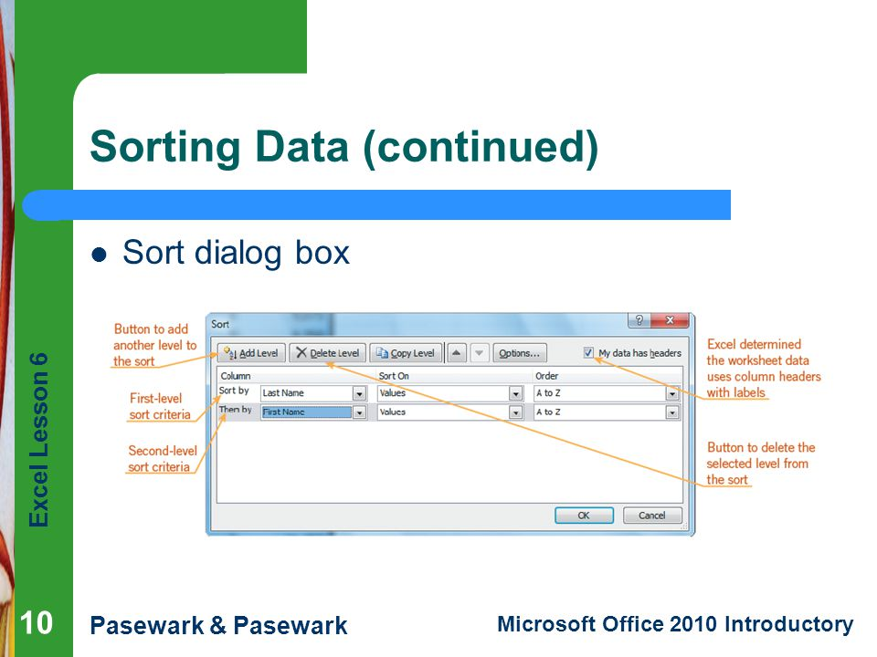 Excel Lesson 6 Pasewark & Pasewark Microsoft Office 2010 Introductory Sorting Data (continued) Sort dialog box 10