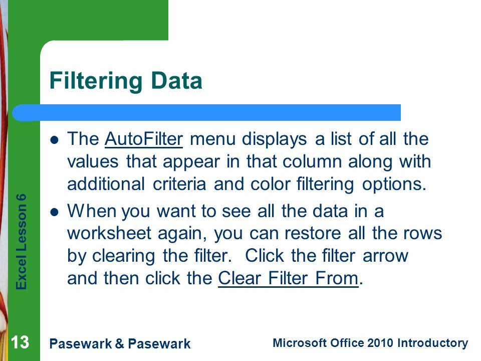 Excel Lesson 6 Pasewark & Pasewark Microsoft Office 2010 Introductory Filtering Data The AutoFilter menu displays a list of all the values that appear in that column along with additional criteria and color filtering options.