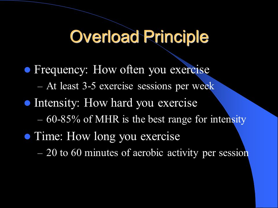 Applying the Principles of Training Overload Principle – FIT Principle of Progression Principle of Specificity