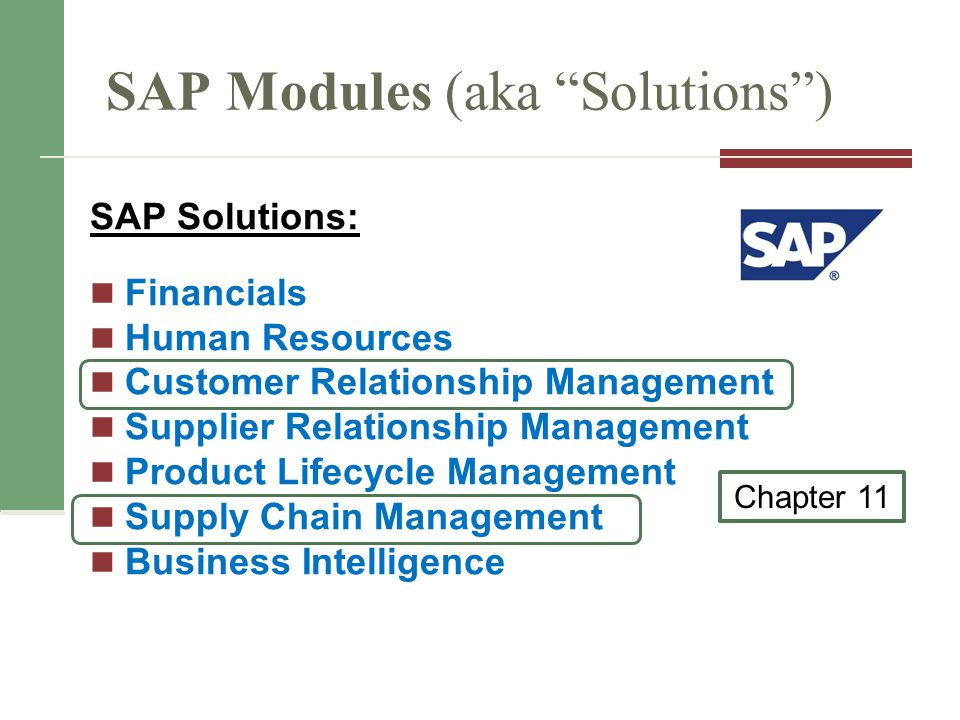 SAP Modules (aka Solutions ) SAP Solutions: Financials Human Resources Customer Relationship Management Supplier Relationship Management Product Lifecycle Management Supply Chain Management Business Intelligence Chapter 11
