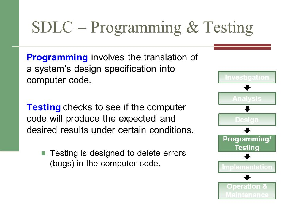 SDLC – Programming & Testing Programming involves the translation of a system's design specification into computer code.
