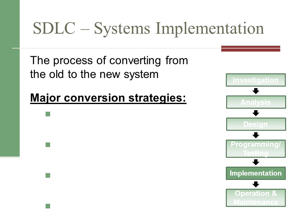 SDLC – Systems Implementation The process of converting from the old to the new system Major conversion strategies: Investigation Analysis Design Programming/ Testing Implementation Operation & Maintenance