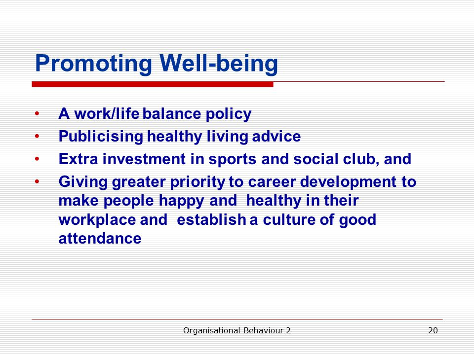 Promoting Well-being A work/life balance policy Publicising healthy living advice Extra investment in sports and social club, and Giving greater priority to career development to make people happy and healthy in their workplace and establish a culture of good attendance Organisational Behaviour 220