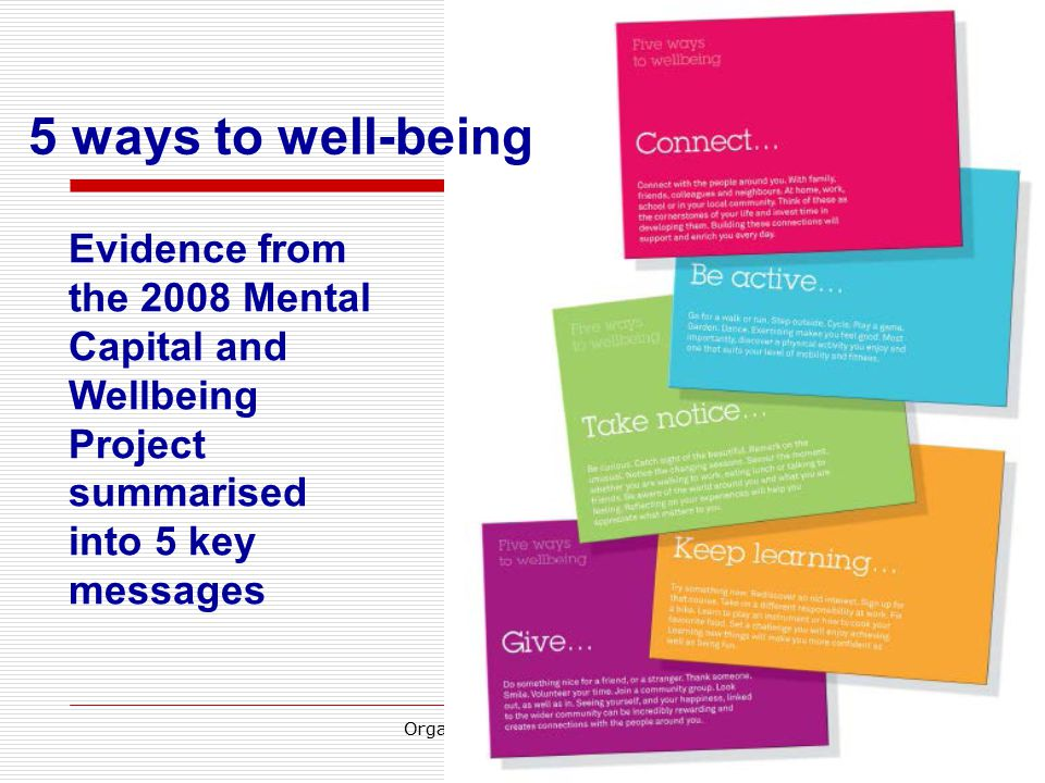22 Evidence from the 2008 Mental Capital and Wellbeing Project summarised into 5 key messages 5 ways to well-being