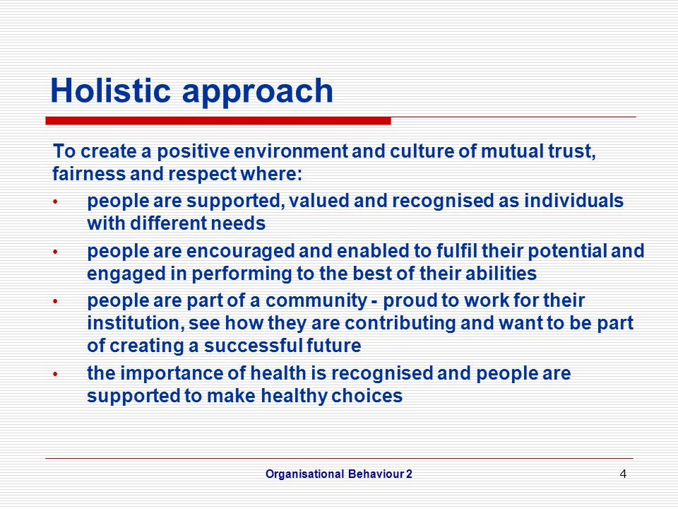 4 Holistic approach To create a positive environment and culture of mutual trust, fairness and respect where: people are supported, valued and recognised as individuals with different needs people are encouraged and enabled to fulfil their potential and engaged in performing to the best of their abilities people are part of a community - proud to work for their institution, see how they are contributing and want to be part of creating a successful future the importance of health is recognised and people are supported to make healthy choices Organisational Behaviour 2