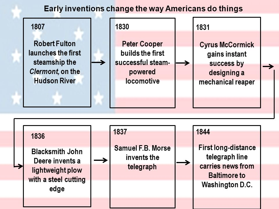 Early inventions change the way Americans do things Robert Fulton launches the first steamship the Clermont, on the Hudson River Peter Cooper builds the first successful steam- powered locomotive Cyrus McCormick gains instant success by designing a mechanical reaper Blacksmith John Deere invents a lightweight plow with a steel cutting edge Samuel F.B.