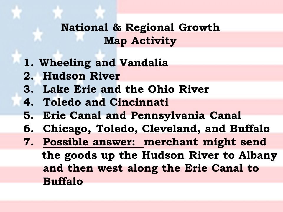 National & Regional Growth Map Activity 1.Wheeling and Vandalia 2.