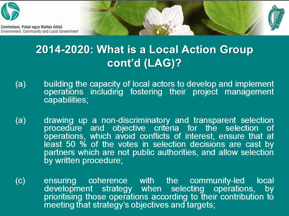 : What is a Local Action Group cont'd (LAG).