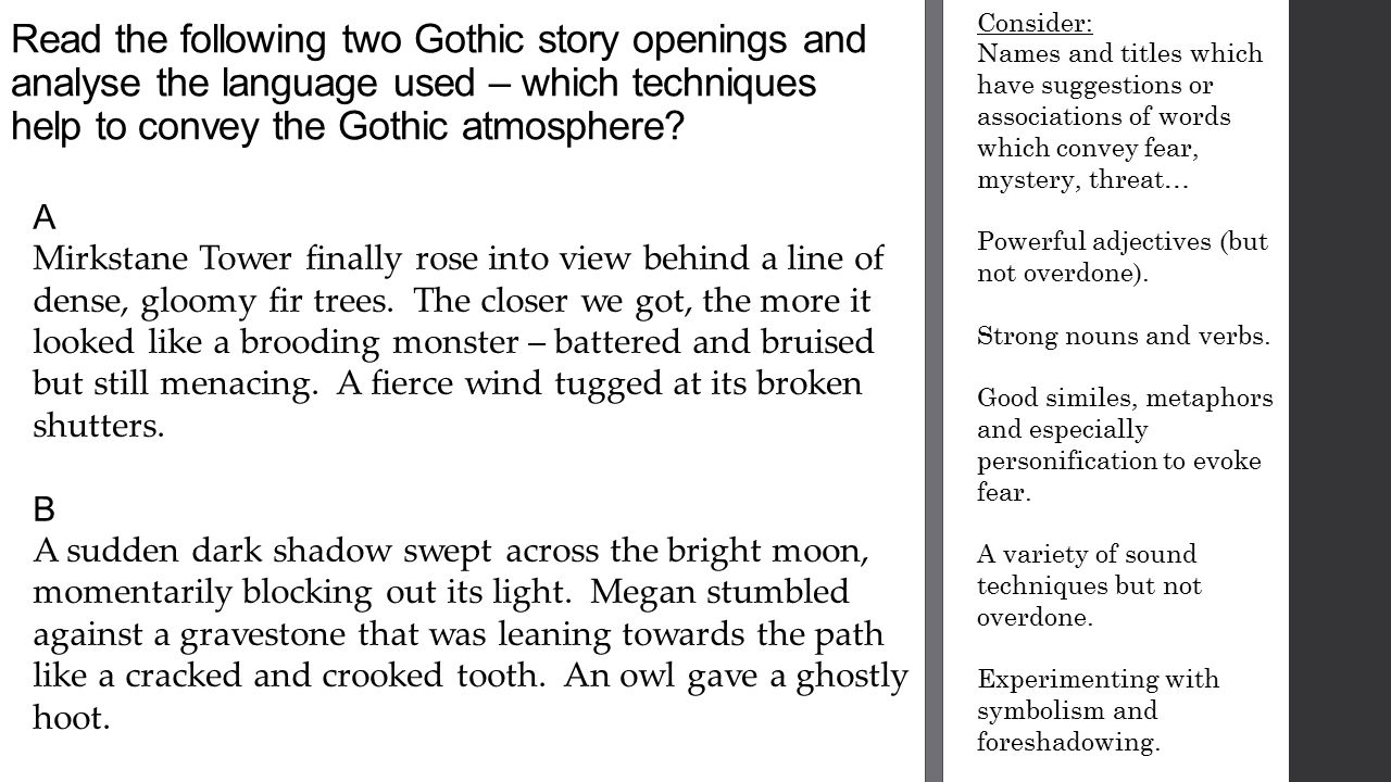 Help need with gothic story?