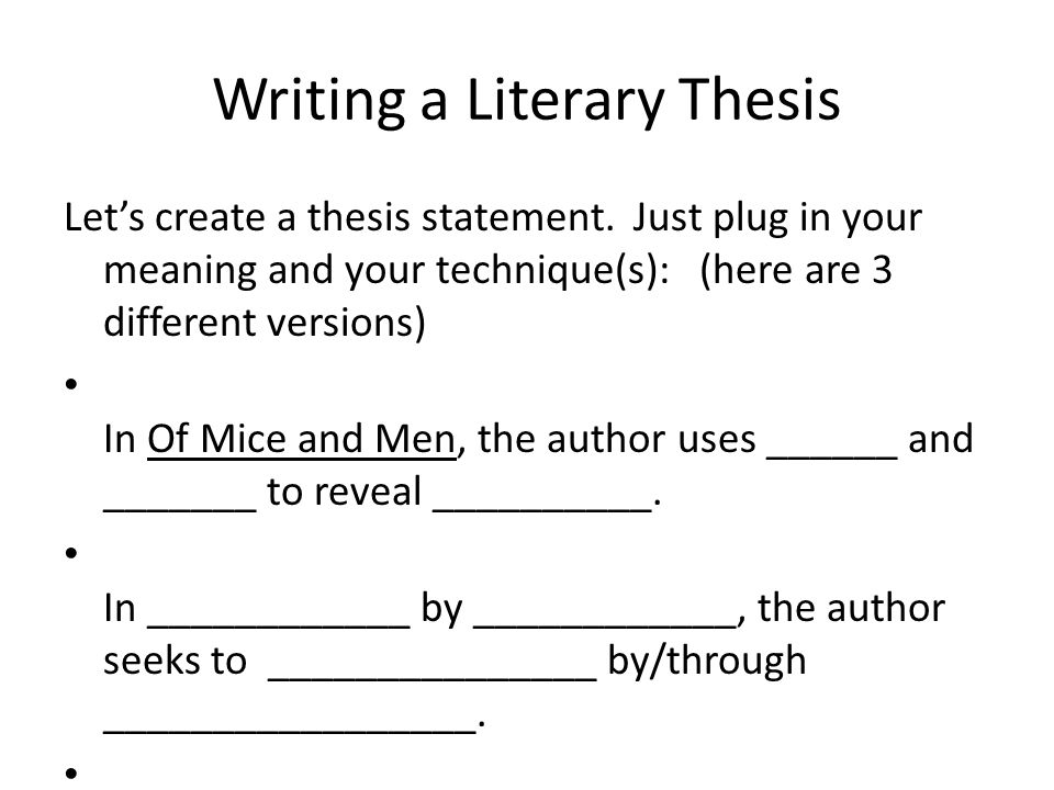 Example of a thesis statement with parallel structure