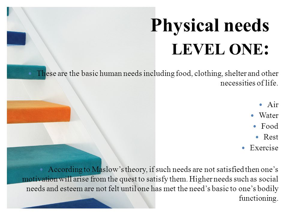 These are the basic human needs including food, clothing, shelter and other necessities of life. Air Water Food Rest Exercise According to Maslow's th