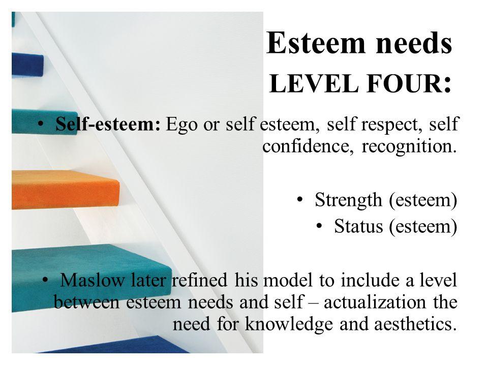 Self-esteem: Ego or self esteem, self respect, self confidence, recognition.