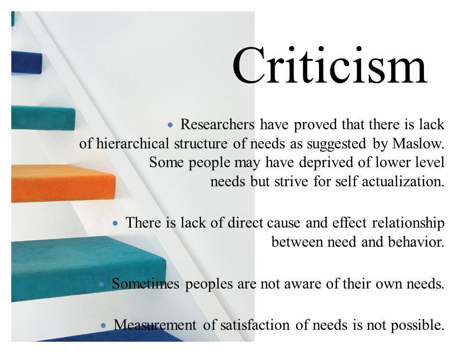 Researchers have proved that there is lack of hierarchical structure of needs as suggested by Maslow. Some people may have deprived of lower level nee