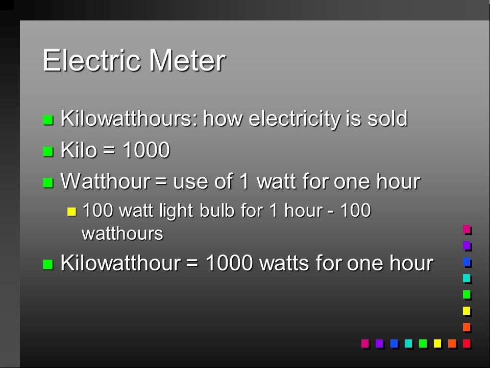 Electric Meter n Kilowatthours: how electricity is sold n Kilo = 1000 n Watthour = use of 1 watt for one hour n 100 watt light bulb for 1 hour watthours n Kilowatthour = 1000 watts for one hour