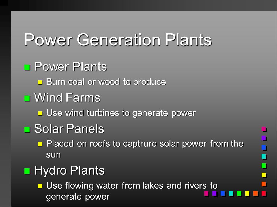 Power Generation Plants n Power Plants n Burn coal or wood to produce n Wind Farms n Use wind turbines to generate power n Solar Panels n Placed on roofs to captrure solar power from the sun n Hydro Plants n Use flowing water from lakes and rivers to generate power