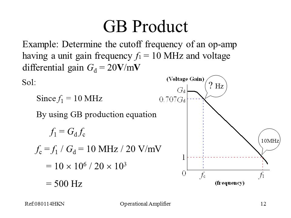 Ref:080114HKNOperational Amplifier12 GB Product Example: Determine the cutoff frequency of an op-amp having a unit gain frequency f 1 = 10 MHz and voltage differential gain G d = 20V/mV Sol: Since f 1 = 10 MHz By using GB production equation f 1 = G d f c f c = f 1 / G d = 10 MHz / 20 V/mV = 10  10 6 / 20  10 3 = 500 Hz 10MHz .