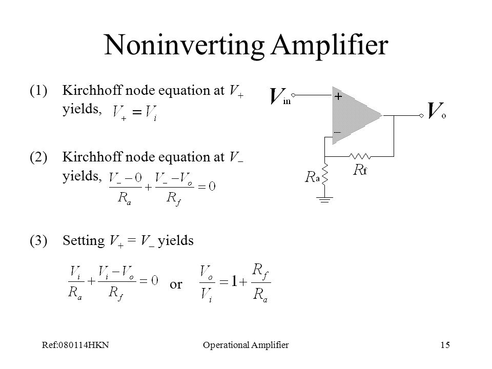 Ref:080114HKNOperational Amplifier15 Noninverting Amplifier (1)Kirchhoff node equation at V + yields, (2)Kirchhoff node equation at V  yields, (3)Setting V + = V – yields or