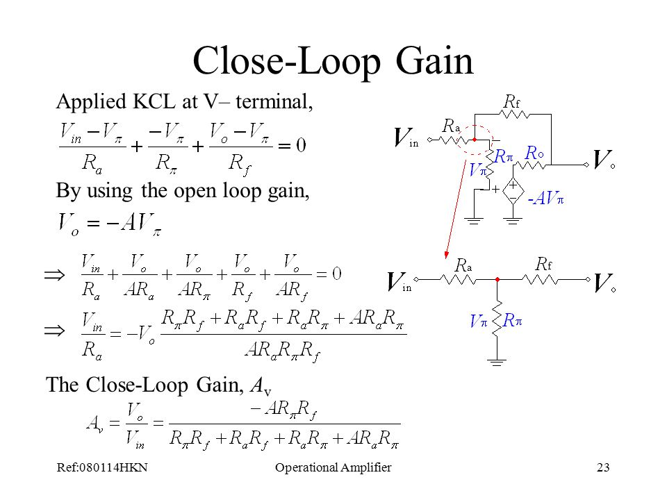Ref:080114HKNOperational Amplifier23 Close-Loop Gain Applied KCL at V– terminal, By using the open loop gain,   The Close-Loop Gain, A v