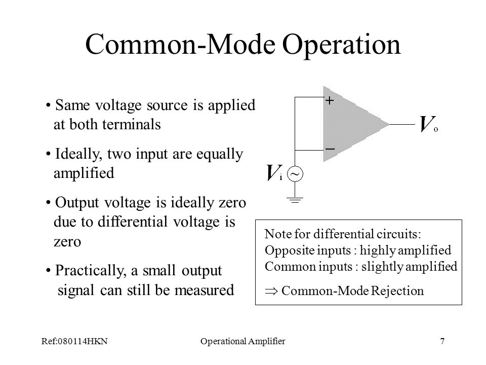 Ref:080114HKNOperational Amplifier7 Common-Mode Operation Same voltage source is applied at both terminals Ideally, two input are equally amplified Output voltage is ideally zero due to differential voltage is zero Practically, a small output signal can still be measured Note for differential circuits: Opposite inputs : highly amplified Common inputs : slightly amplified  Common-Mode Rejection