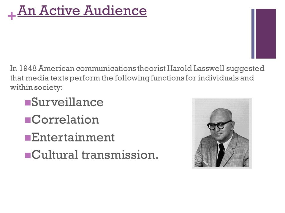 + An Active Audience In 1948 American communications theorist Harold Lasswell suggested that media texts perform the following functions for individuals and within society: Surveillance Correlation Entertainment Cultural transmission.
