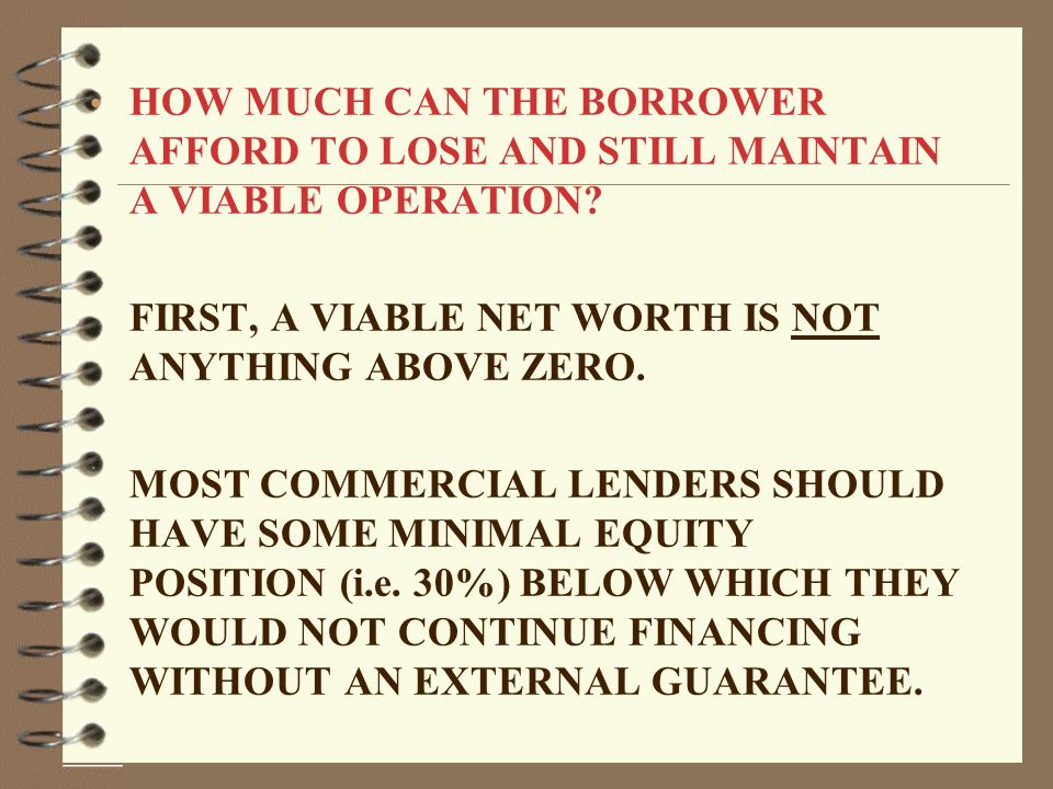 HOW MUCH CAN THE BORROWER AFFORD TO LOSE AND STILL MAINTAIN A VIABLE OPERATION.