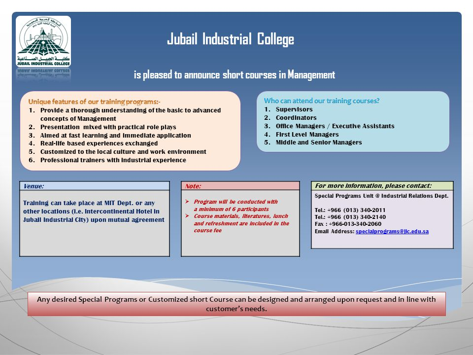 Jubail Industrial College is pleased to announce short courses in Management For more information, please contact: Special Programs Industrial Relations Dept.