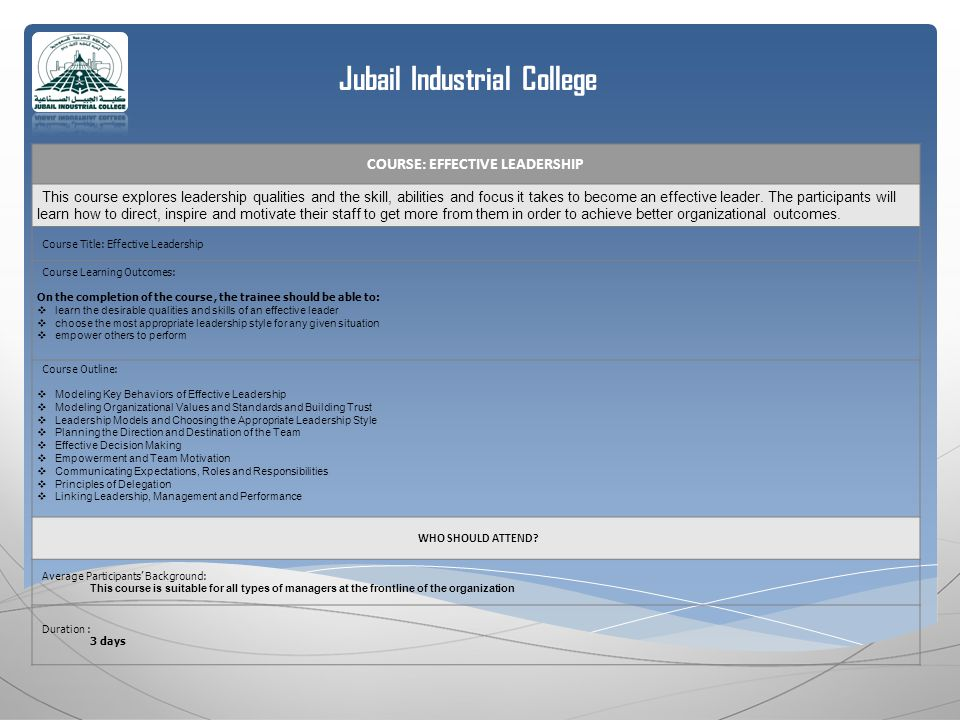 Jubail Industrial College COURSE: EFFECTIVE LEADERSHIP This course explores leadership qualities and the skill, abilities and focus it takes to become an effective leader.