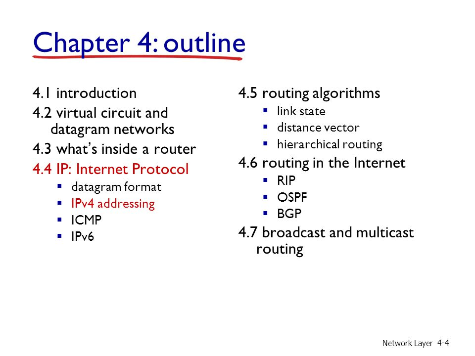 Network Layer introduction 4.2 virtual circuit and datagram networks 4.3 what's inside a router 4.4 IP: Internet Protocol  datagram format  IPv4 addressing  ICMP  IPv6 4.5 routing algorithms  link state  distance vector  hierarchical routing 4.6 routing in the Internet  RIP  OSPF  BGP 4.7 broadcast and multicast routing Chapter 4: outline