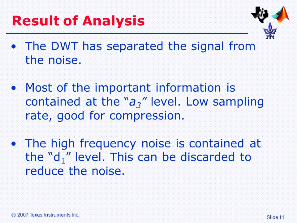 Slide 11 © 2007 Texas Instruments Inc, Result of Analysis The DWT has separated the signal from the noise.