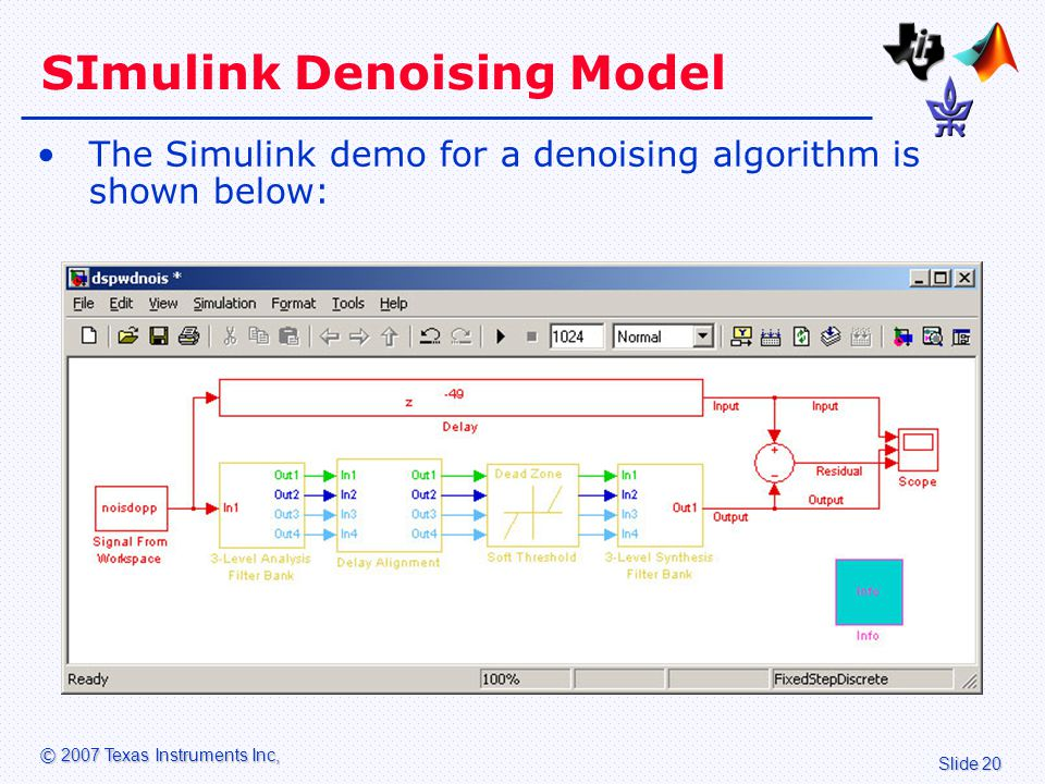 Slide 20 © 2007 Texas Instruments Inc, SImulink Denoising Model The Simulink demo for a denoising algorithm is shown below: