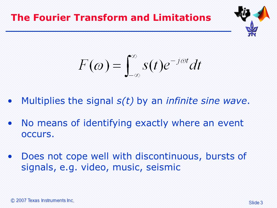 Slide 3 © 2007 Texas Instruments Inc, The Fourier Transform and Limitations Multiplies the signal s(t) by an infinite sine wave.