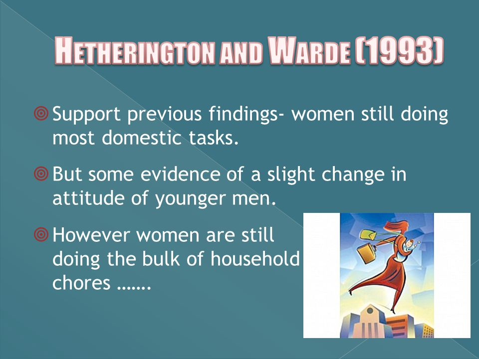  Support previous findings- women still doing most domestic tasks.