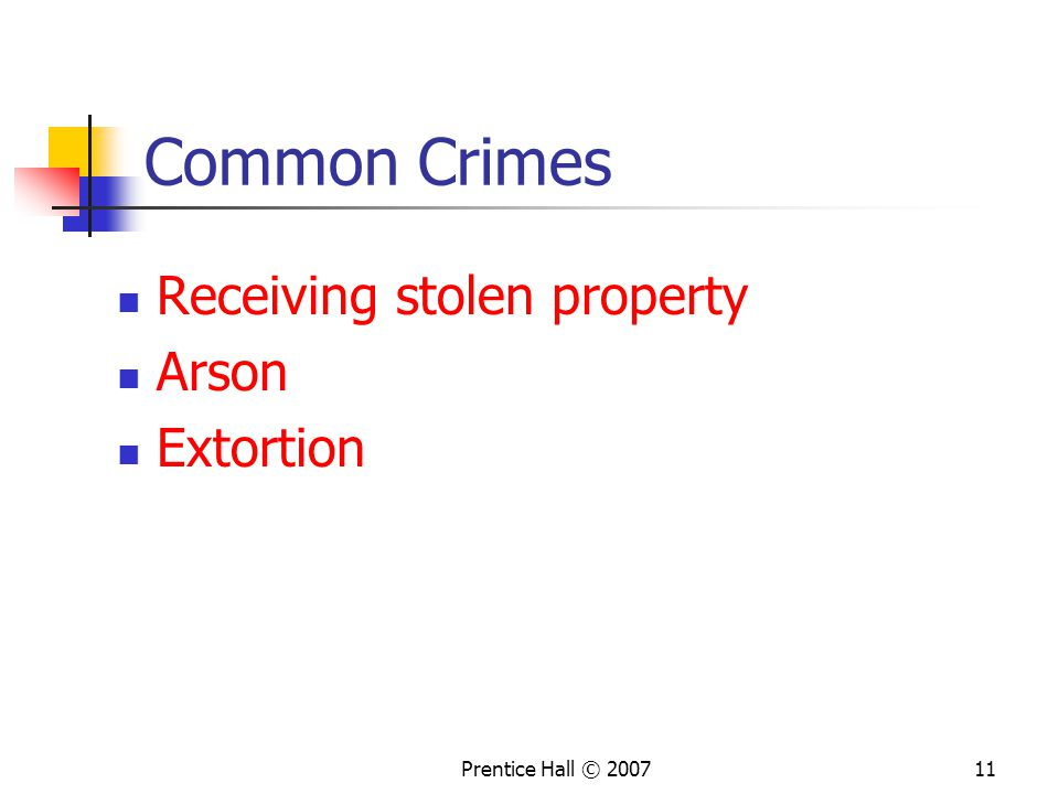 Prentice Hall © 200711 Common Crimes Receiving stolen property Arson Extortion